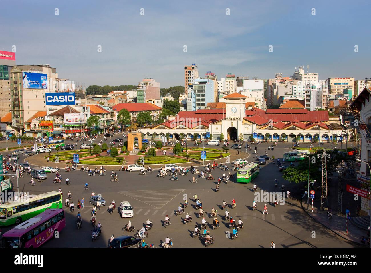 Saigon Ho Chi Minh town city Vietnam market Ben Tanh place space Asia traveling place of interest landmark - Stock Image