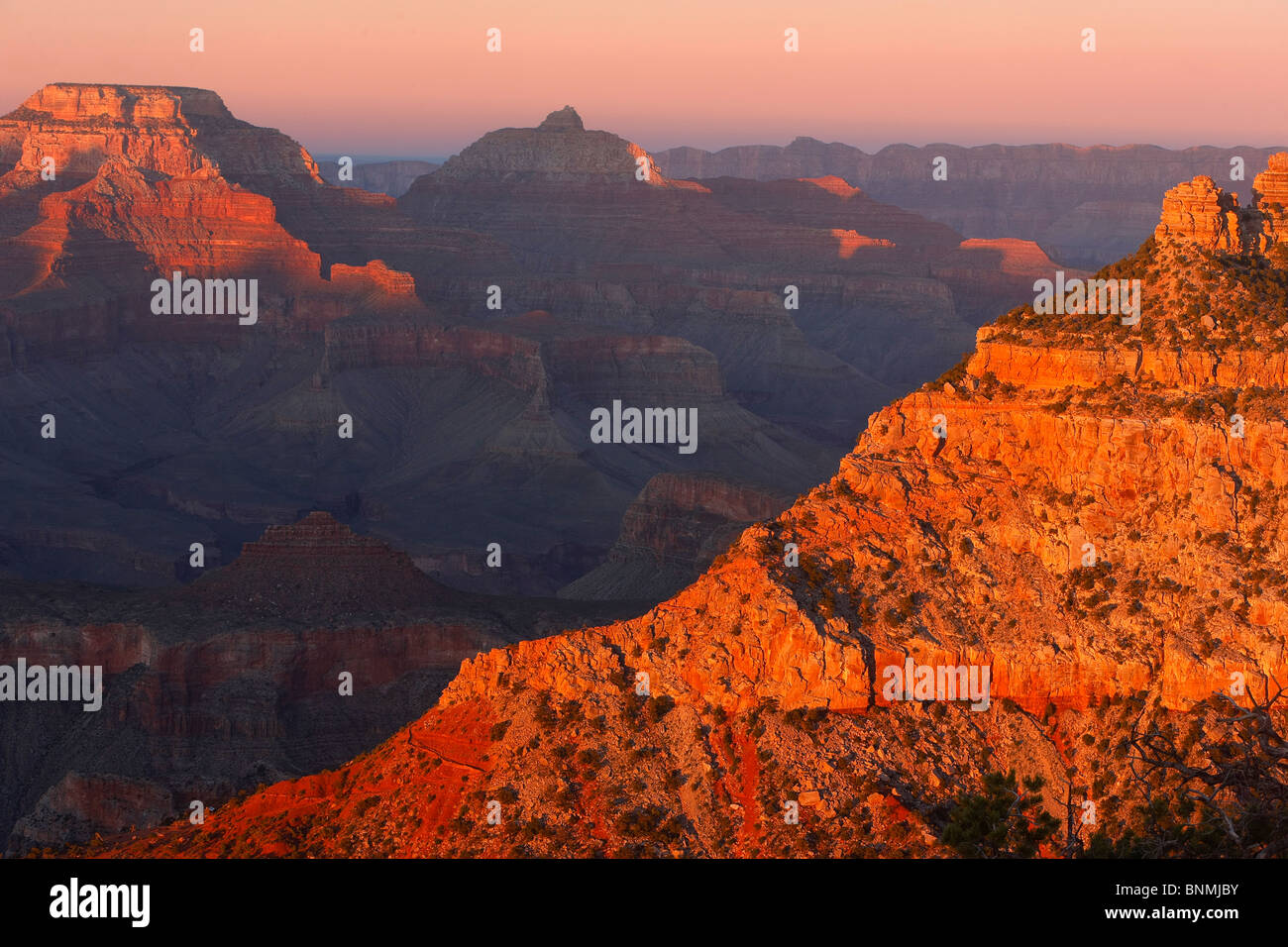 Sunset light from Mather Point, Grand Canyon National Park, Arizona, USA. - Stock Image