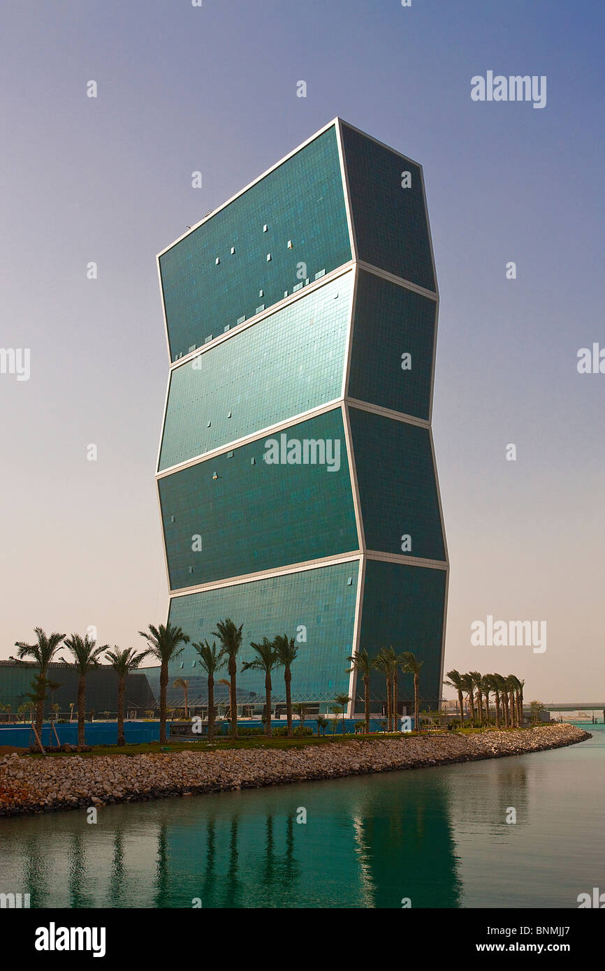 Qatar UAE United Arab Emirates architecture skyline blocks of flats high-rise buildings Corniche Umpteen Is apprehensive - Stock Image