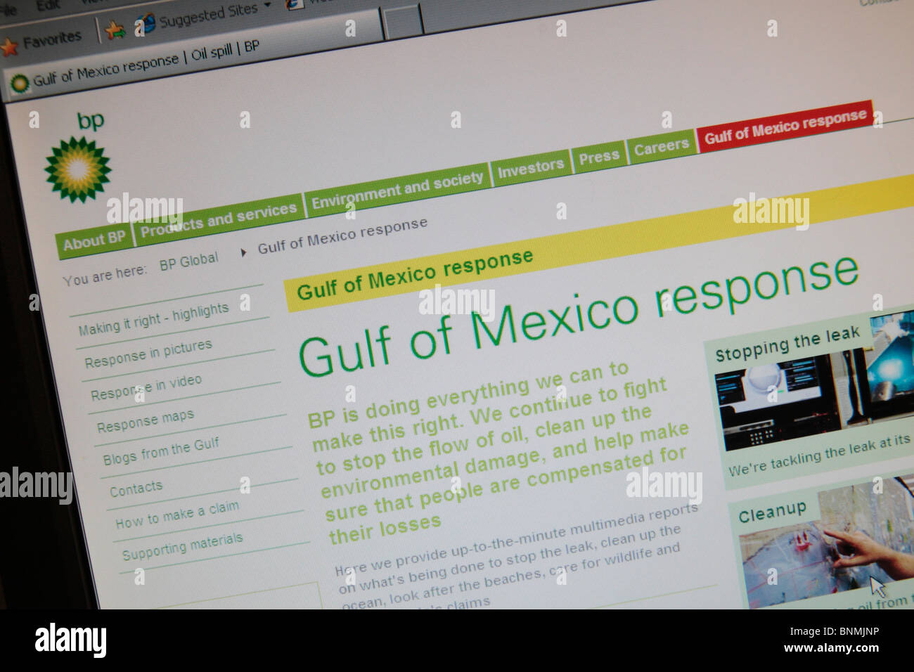 A screen shot of a BP web page for the Gulf of Mexico response after the 2010 Oil Spill in the Gulf of Mexico. July - Stock Image