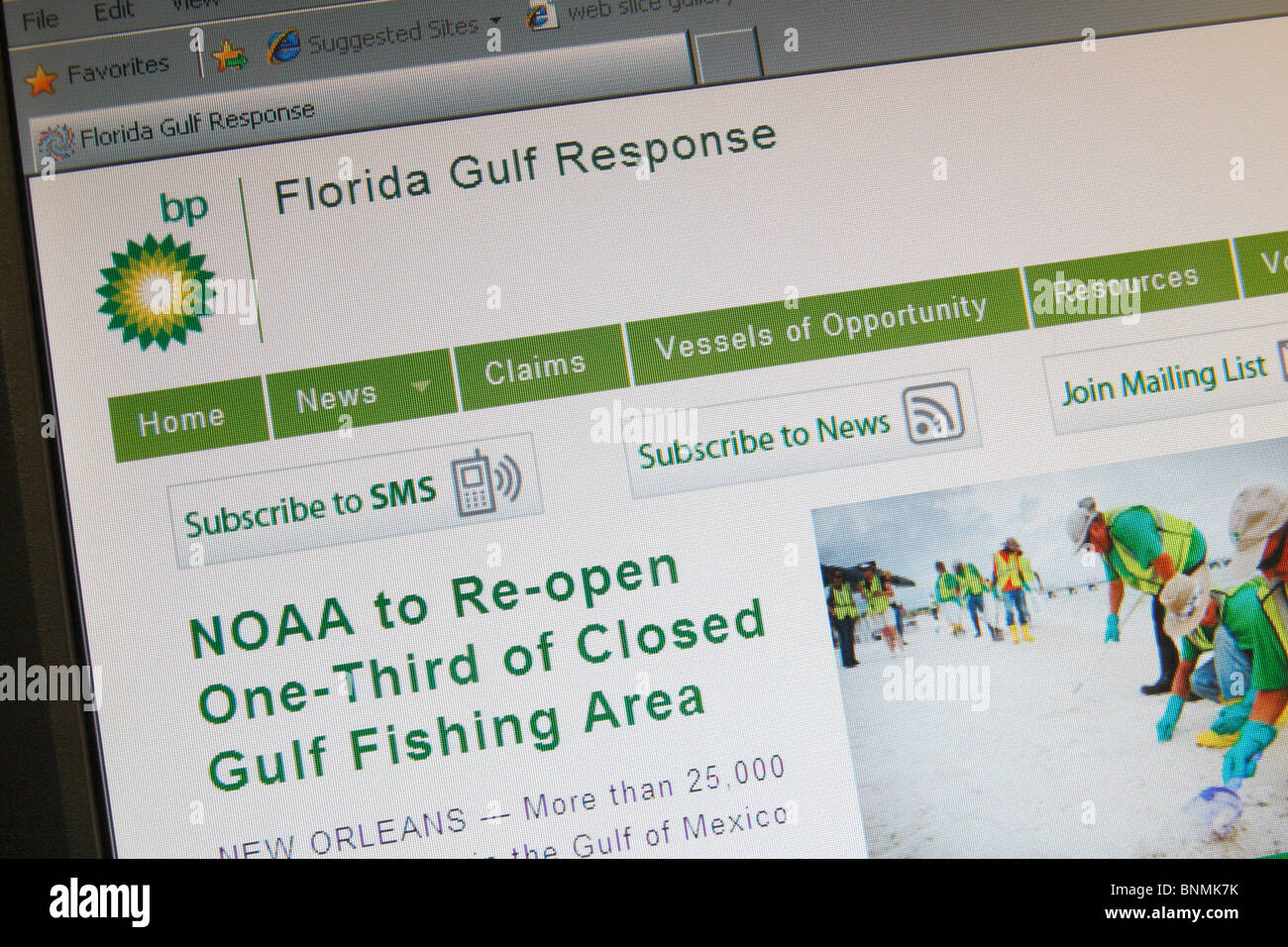 A screen shot of the BP web site for the Florida Gulf Response on the 2010 Oil Spill disaster in the Gulf of Mexico. - Stock Image