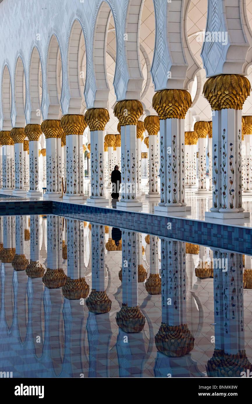 Sheikh Zayed mosque tower rook Islam mosque religion columns Abu Dhabi UAE United Arab Emirates Middle East traveling - Stock Image