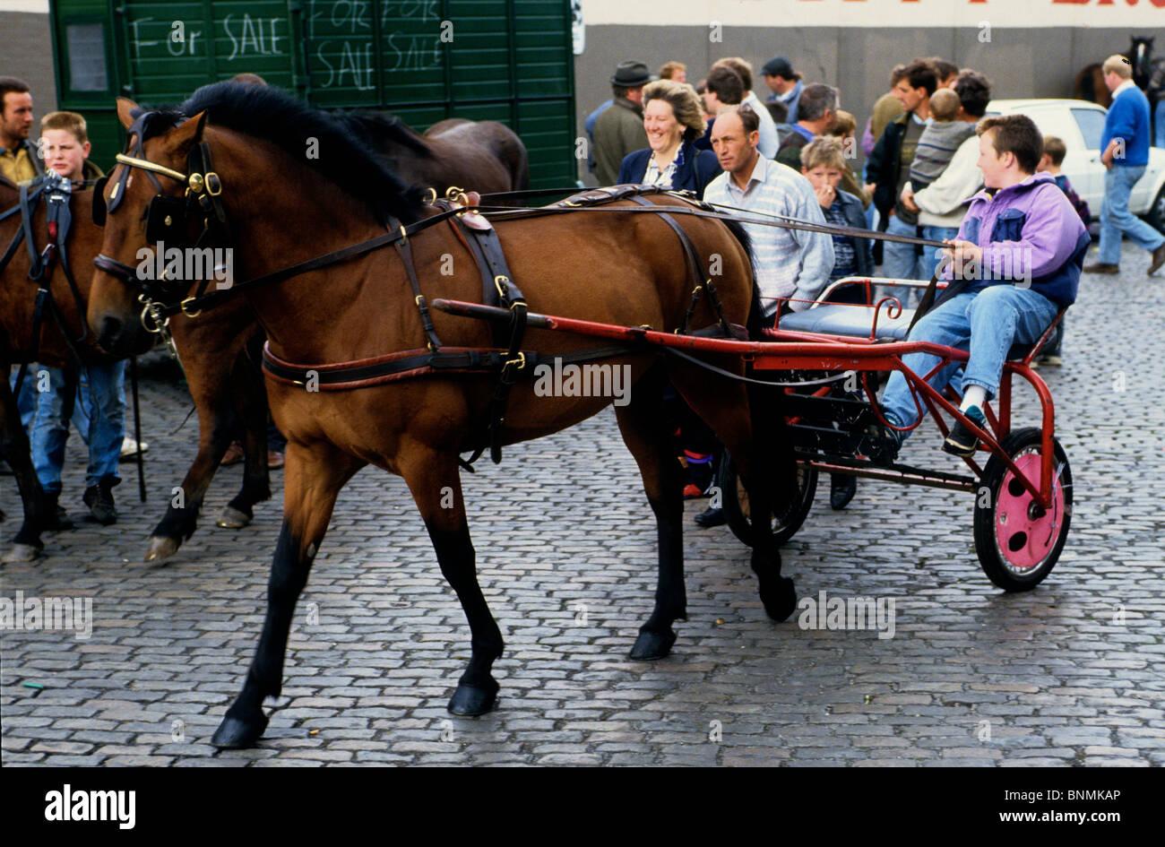Boys show their ponies at Smithfield market Dublin Ireland - Stock Image