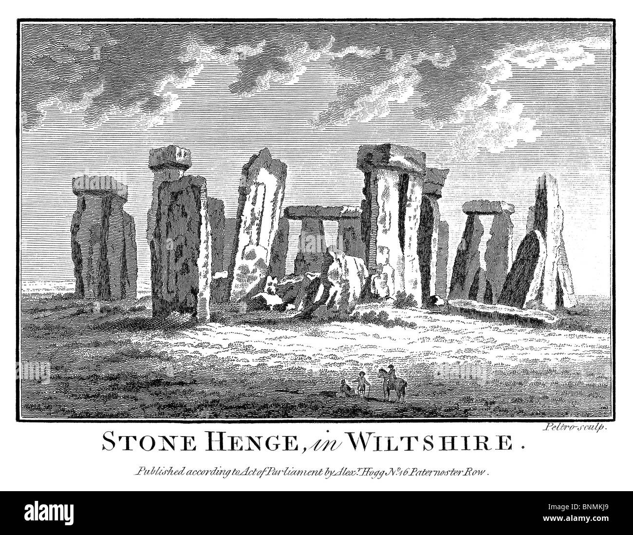 Stone Henge, in Wiltshire, published by Alexander Hogg, London, 1786 by Henry Boswell. - Stock Image