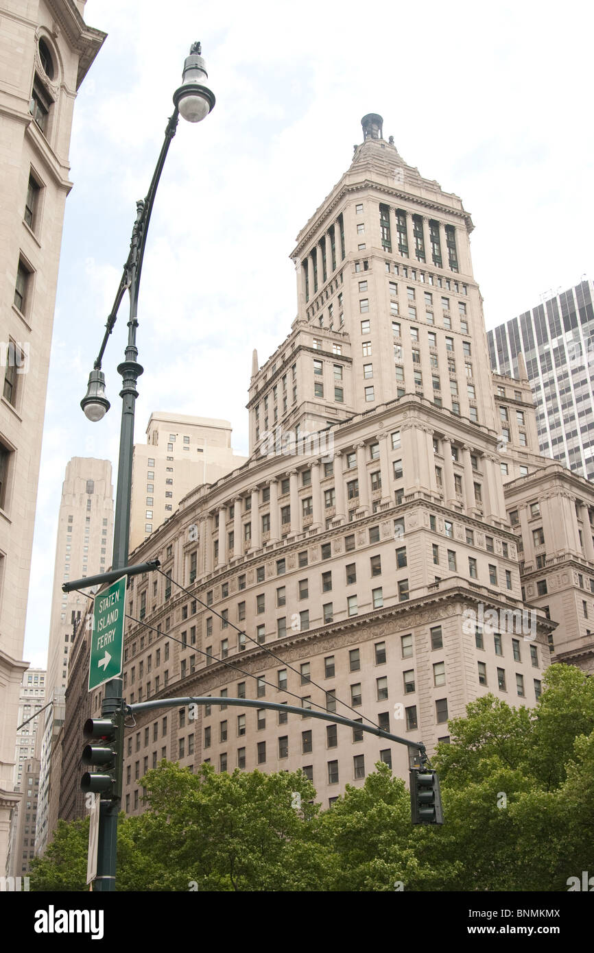 Wall Street building in Lower Manhattan - Stock Image
