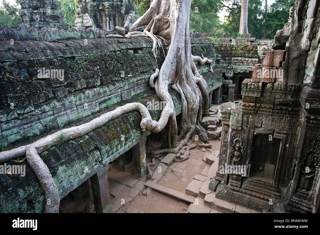 Cambodia Far East Asia Buddhism Angkor Thom temple religion cultural site culture stone figures figures world cultural - Stock Image