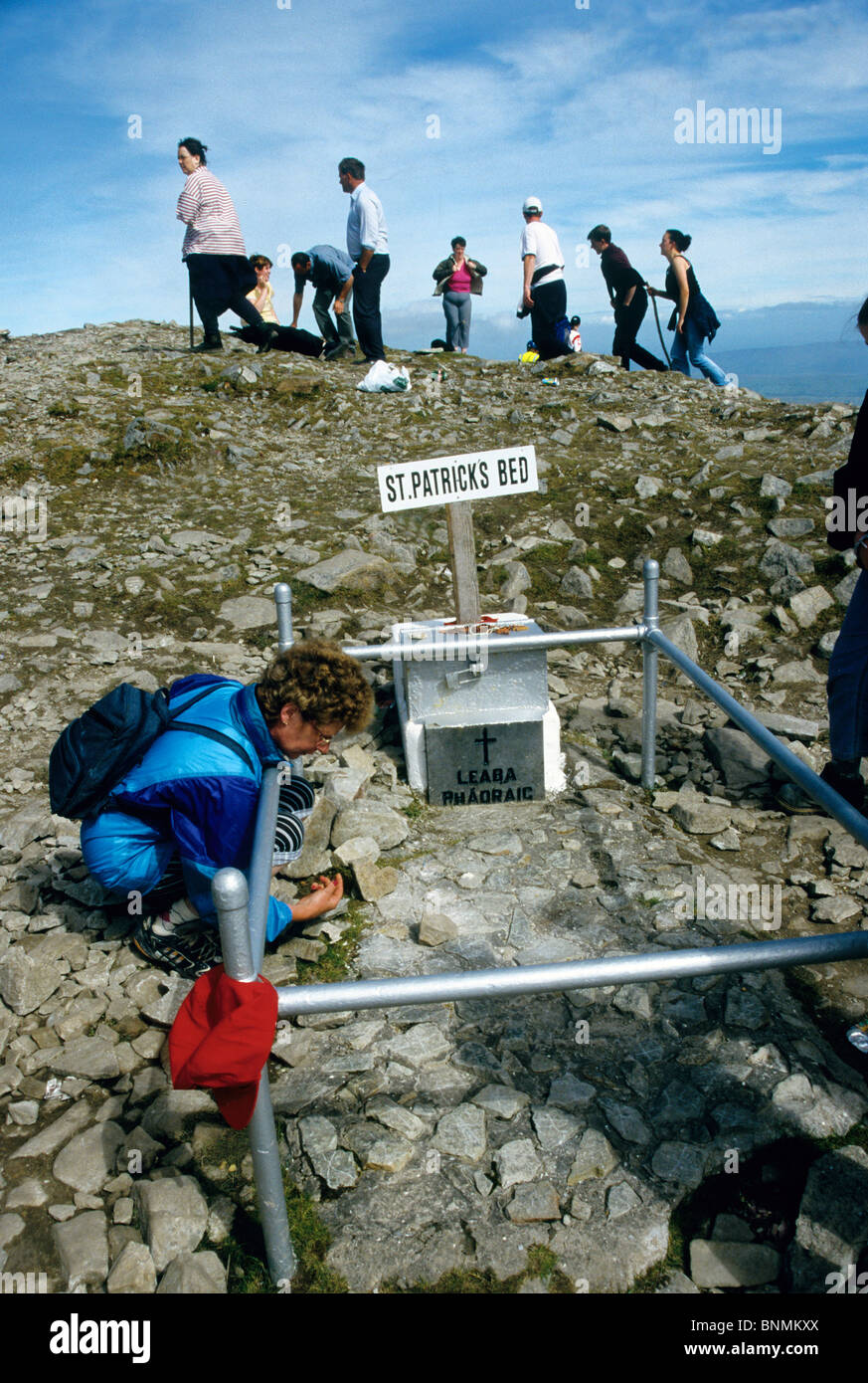 Pilgrims  at St Patricks Bed on Croagh Patrick (Irish: Cruach Phádraig),  the last Sunday in July every year - Stock Image