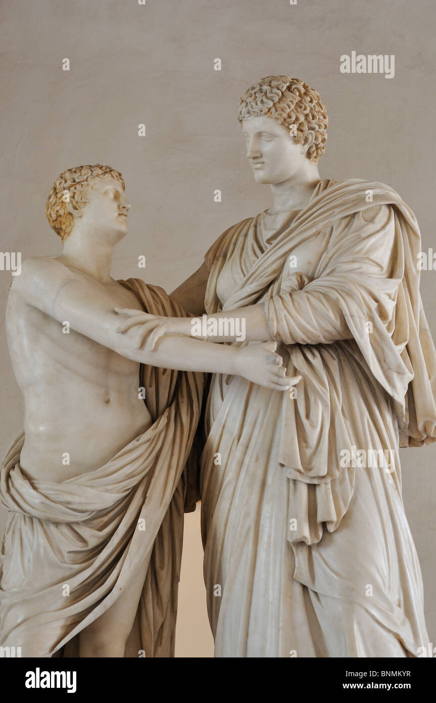 Rome. Italy. National Museum of Rome. Palazzo Altemps. Oreste ed Elettra signed by Greek Sculptor Menelaos (1st - Stock Image