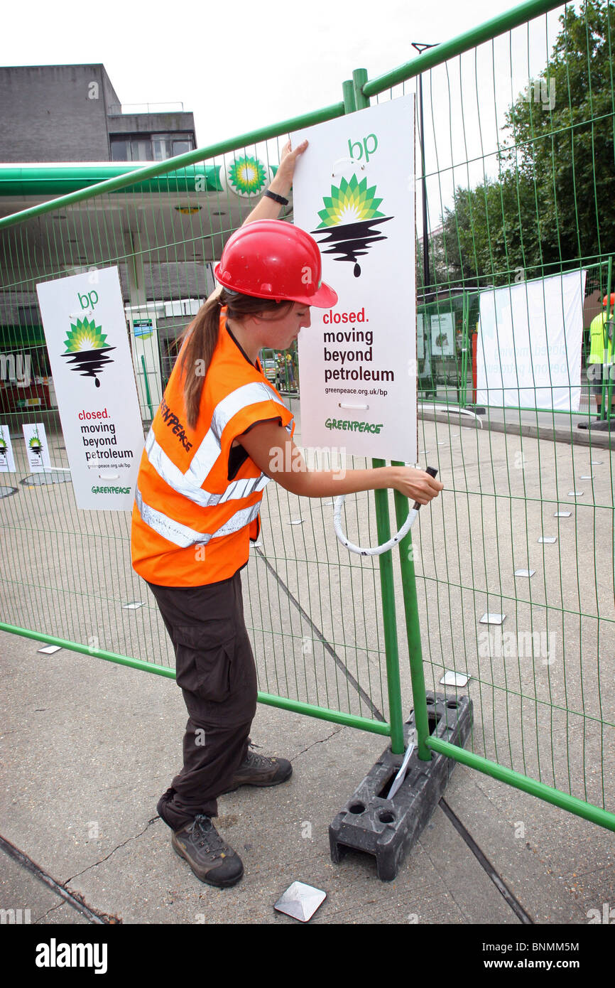 Greenpeace protesters closing down forcourt of BP Petrol Station and  in Central London. 27July 2010 - Stock Image