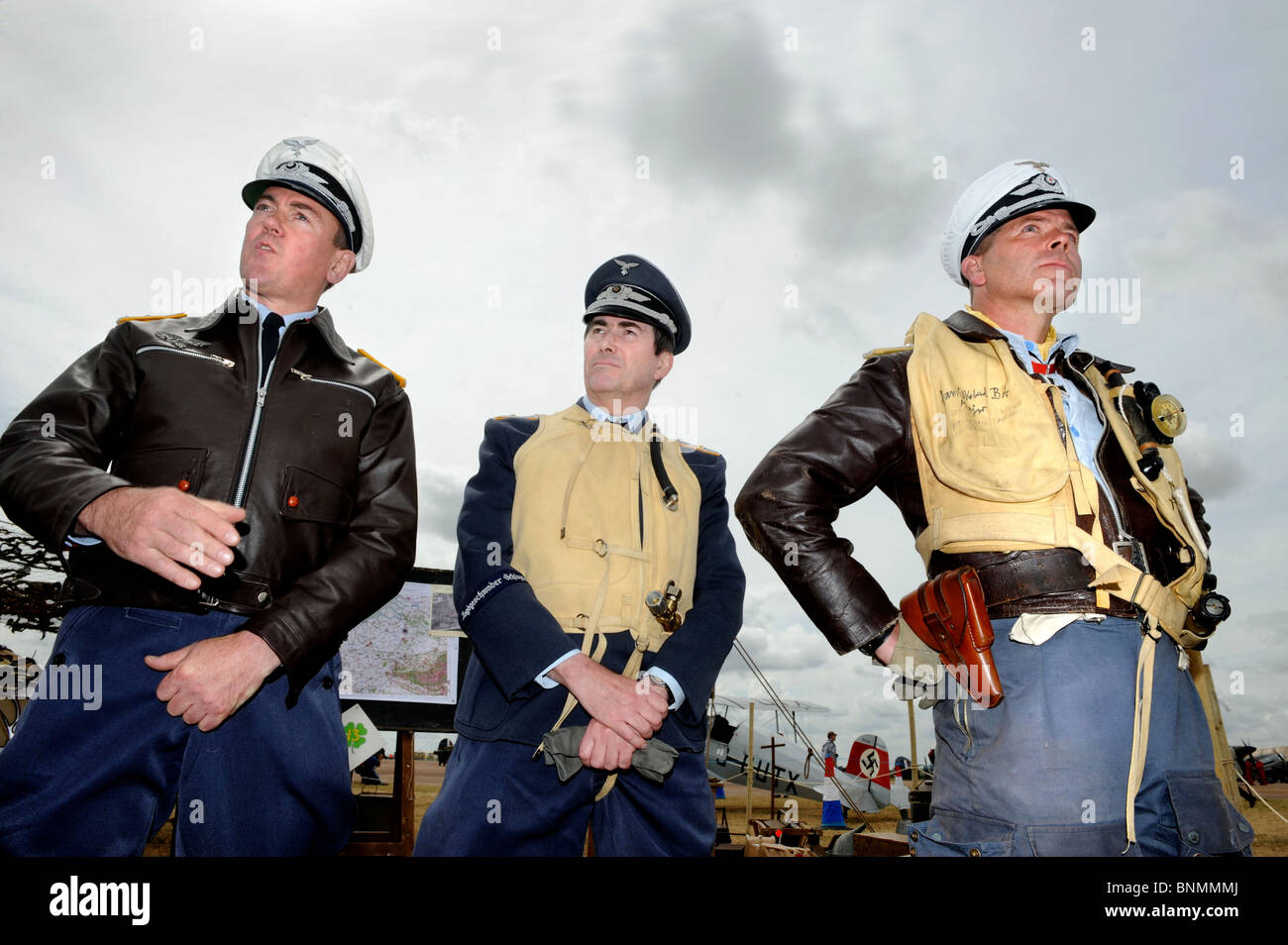 Members of the Luftwaffe Re-enactment Group dressed as German airman at The Royal International Air Tattoo at RAF - Stock Image