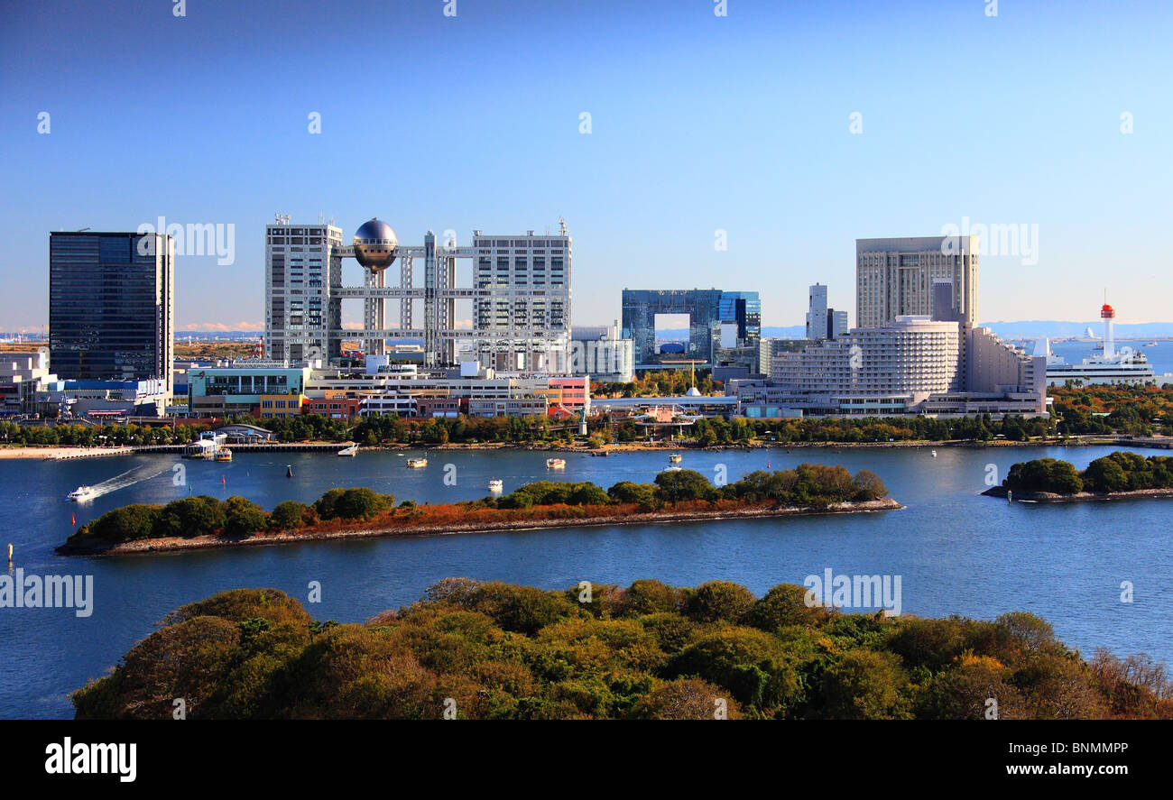 Tokyo Japan Asia Far East architecture Odaiba Fuji TV ball sphere bay water traveling place of interest landmark - Stock Image