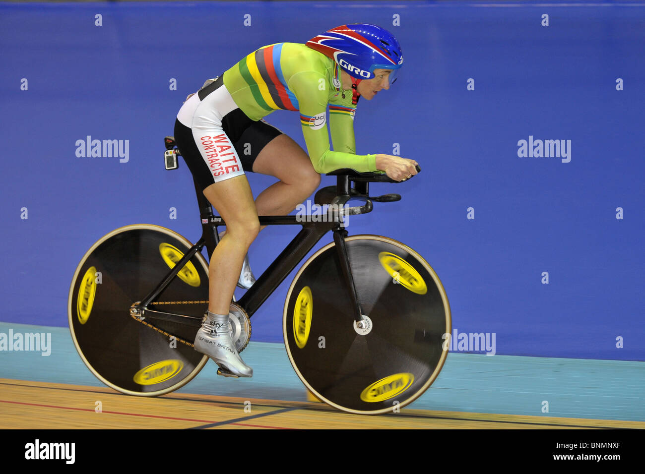 Paralympian Sarah Storey OBE rides for VC St Raphael in the National track championships at Manchester velodrome. - Stock Image