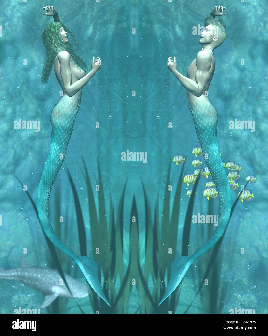 Mermaid And Merman Underwater Stock Photo  30574409
