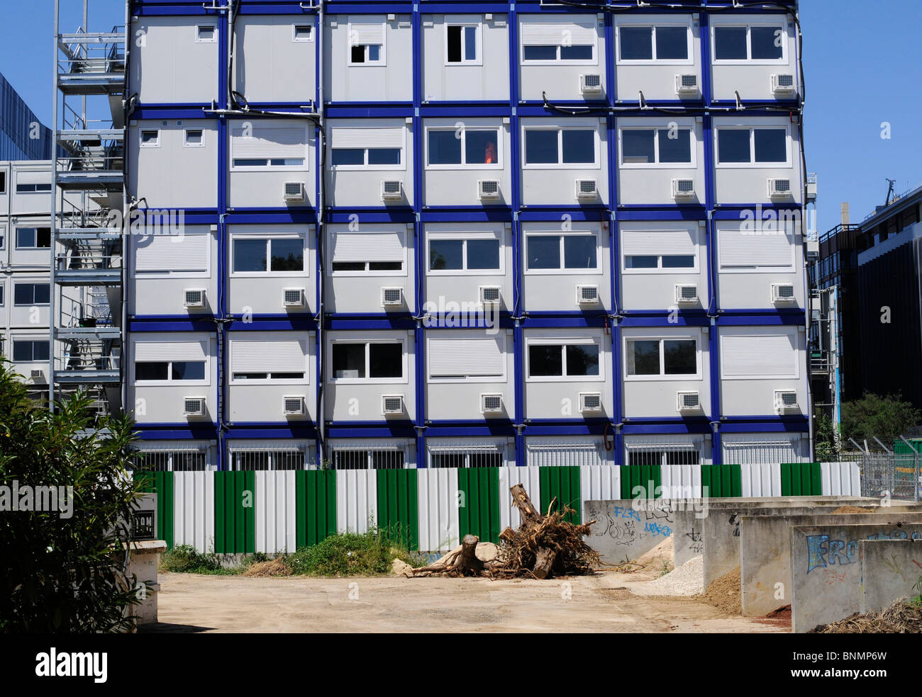 Temporary housing for construction workers made out of shipping containers in Paris, France. Stock Photo