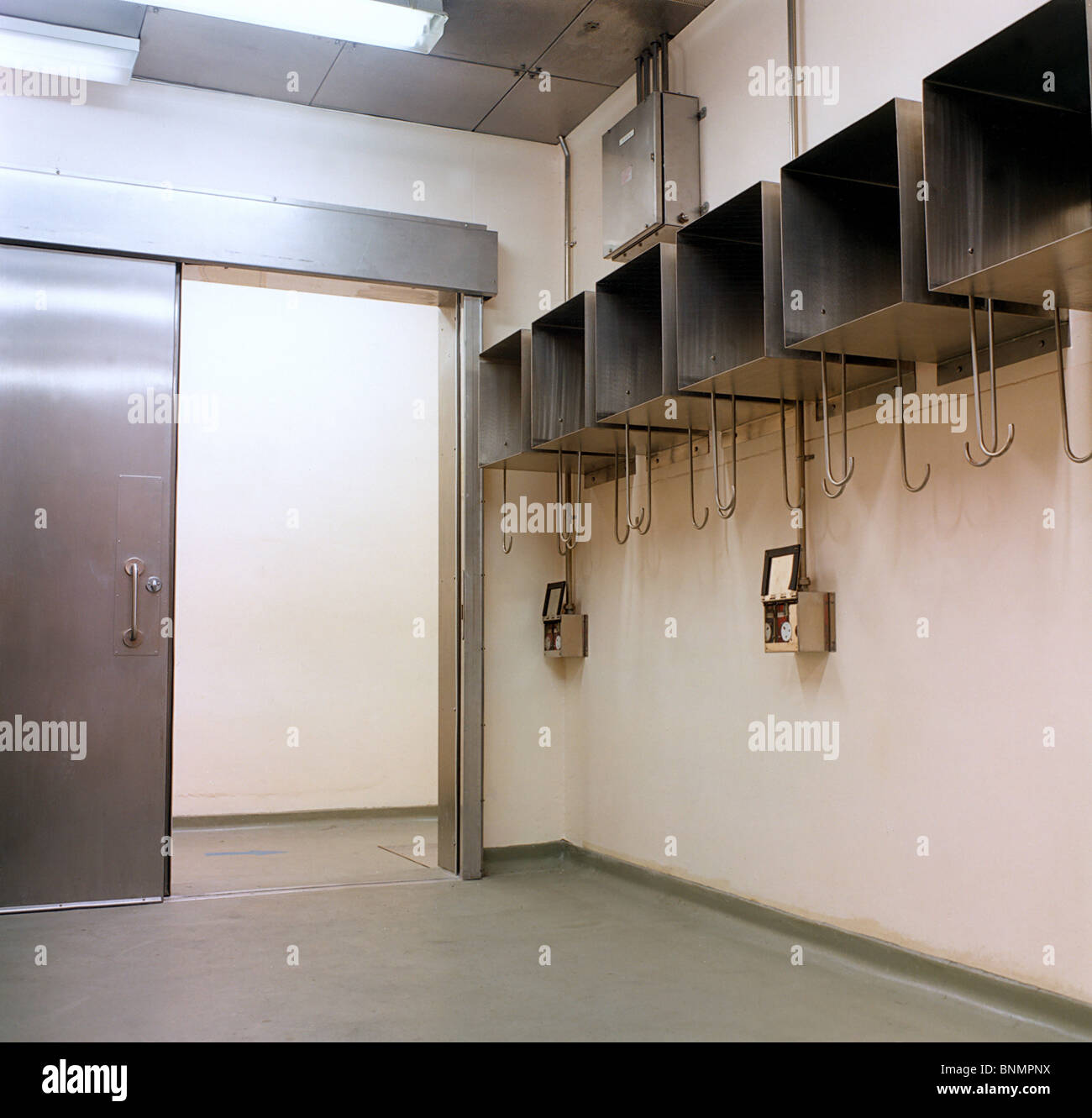 Interior of Nuclear Decontamination Suite at RAF Greenham Common which used to house 96 USAF Nuclear Missiles - Stock Image