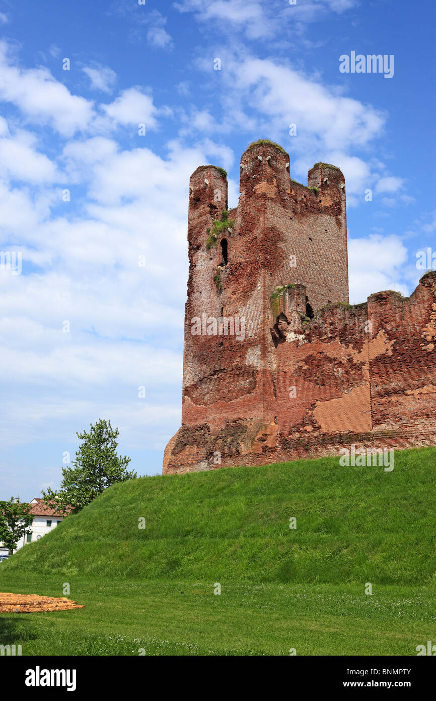Italy Europe European Western Europe Architecture building Italian Castelfranco Veneto Summer summer time medieval - Stock Image