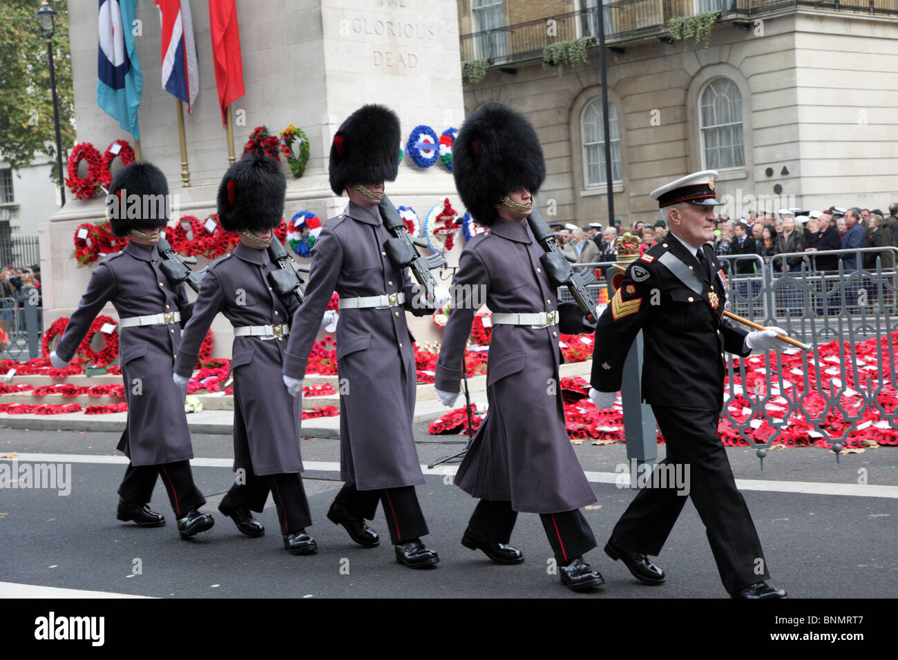 Soldiers marching past the Cenotaph during the Armistice Day Memorial Service in Whitehall, London, SW1. - Stock Image
