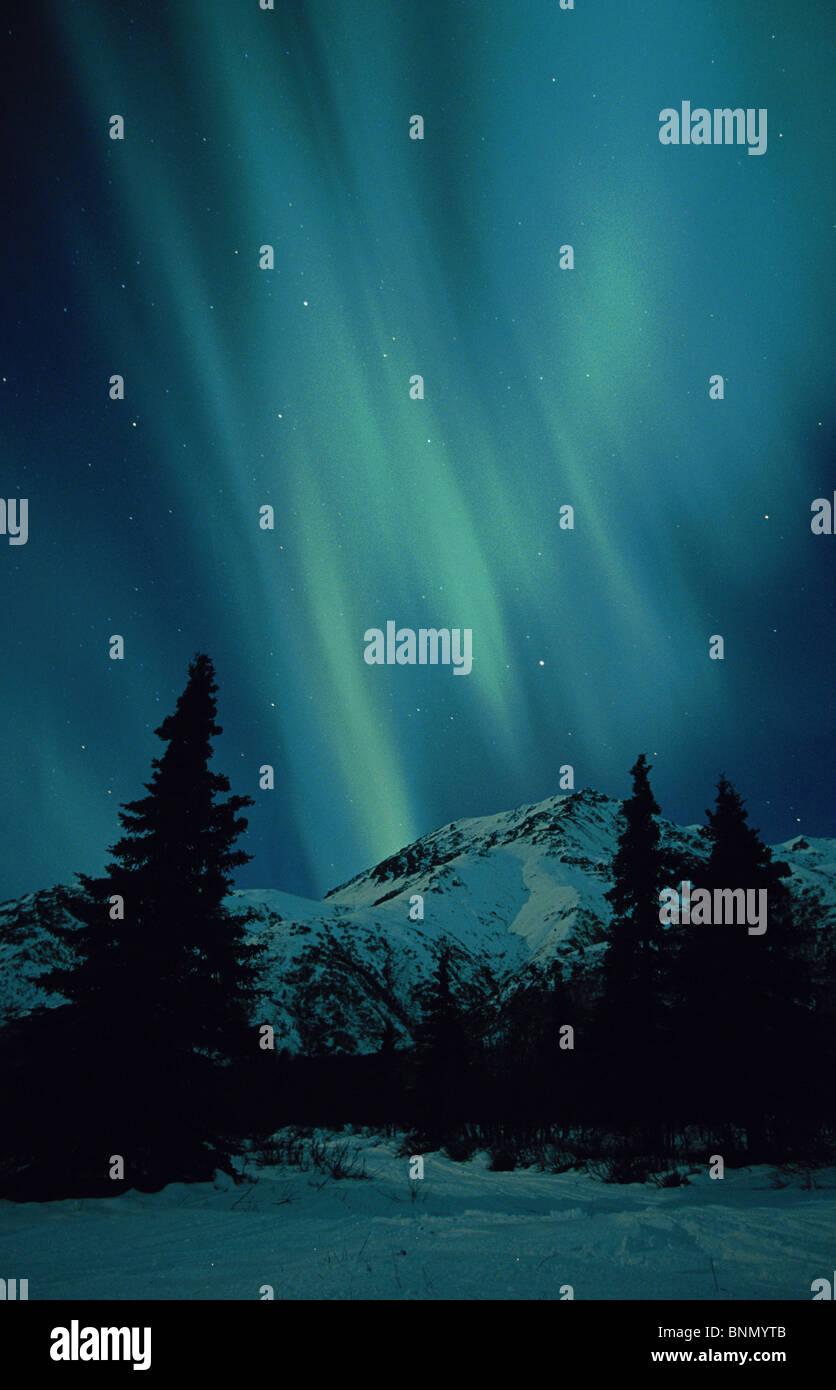 Northern Lights Over Talkeetna Mountains Alaska - Stock Image
