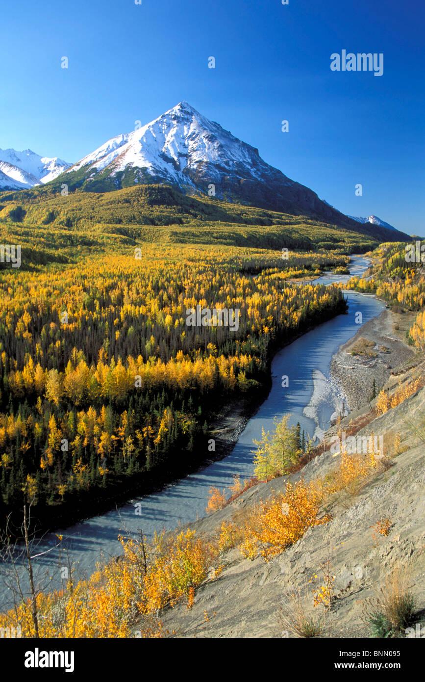 Matanuska River w/King Mtn Chugach Mtns SC AK Autumn Stock Photo
