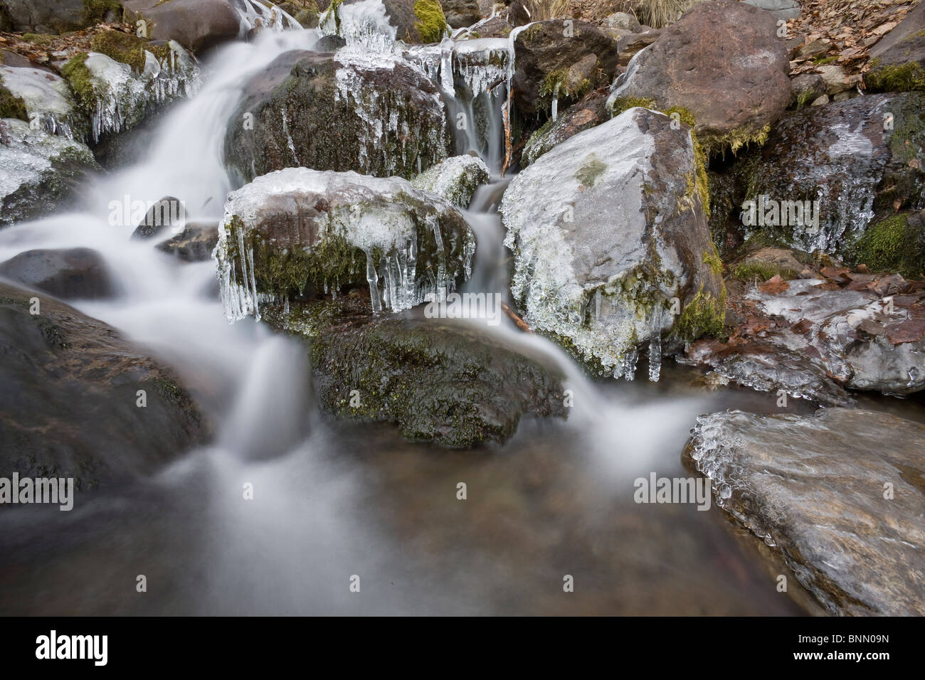 Icicles hang from moss covered rocks at Falls Creek in Alaska during Winter - Stock Image