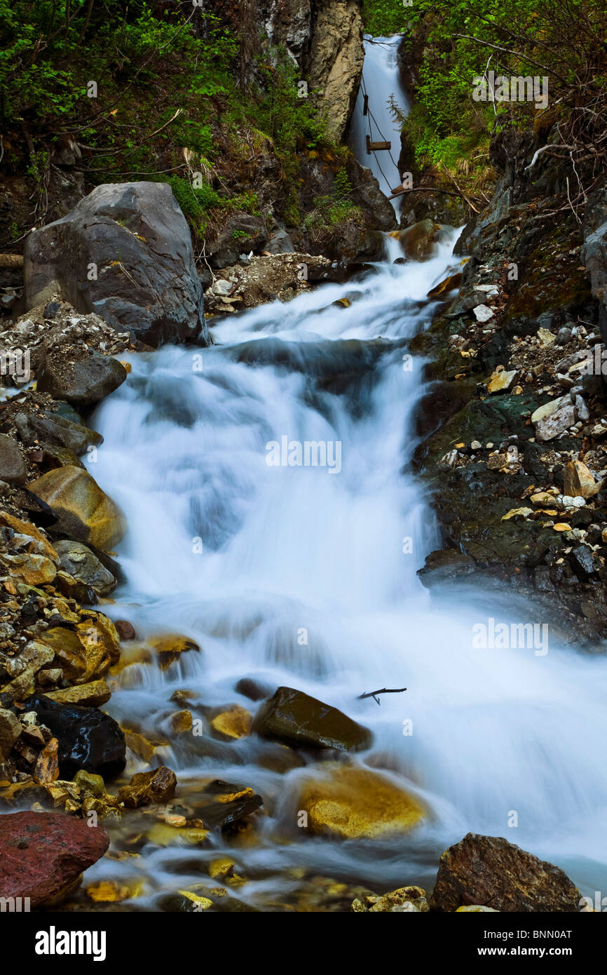 View of National Creek Falls above the Kennecott Mill Town, Wrangell St. Elias National Park & Preserve, Alaska, - Stock Image