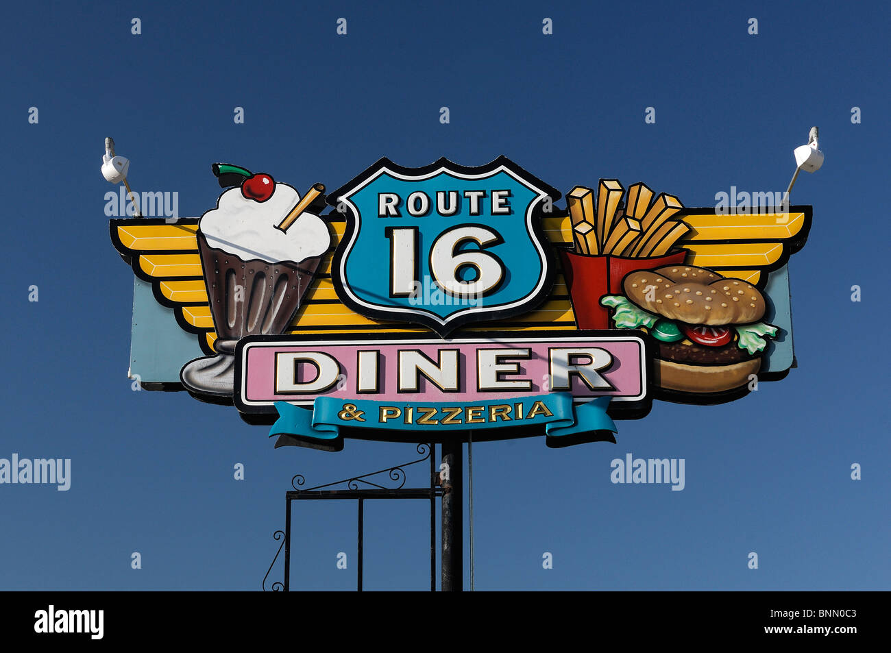 Route 16 Diner sign Hill City Black Hills South Dakota USA - Stock Image