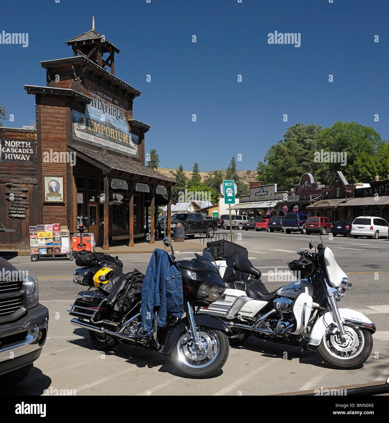 Harley Davidson Motorcycles Winthrop Emporium Winthrop Washington USA - Stock Image