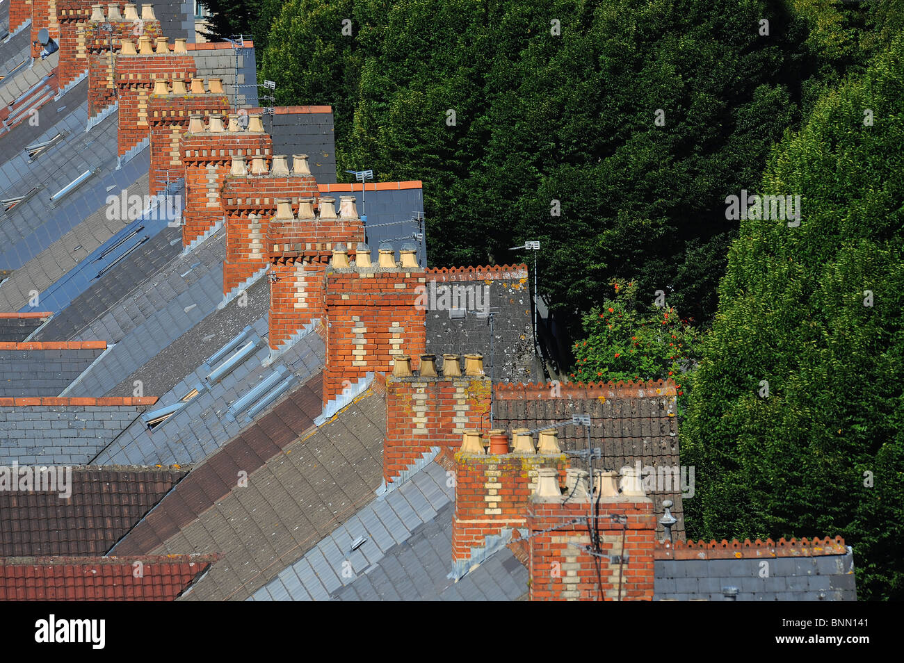 A row of chimneys on rooftops of terraced housing in Cardiff. - Stock Image
