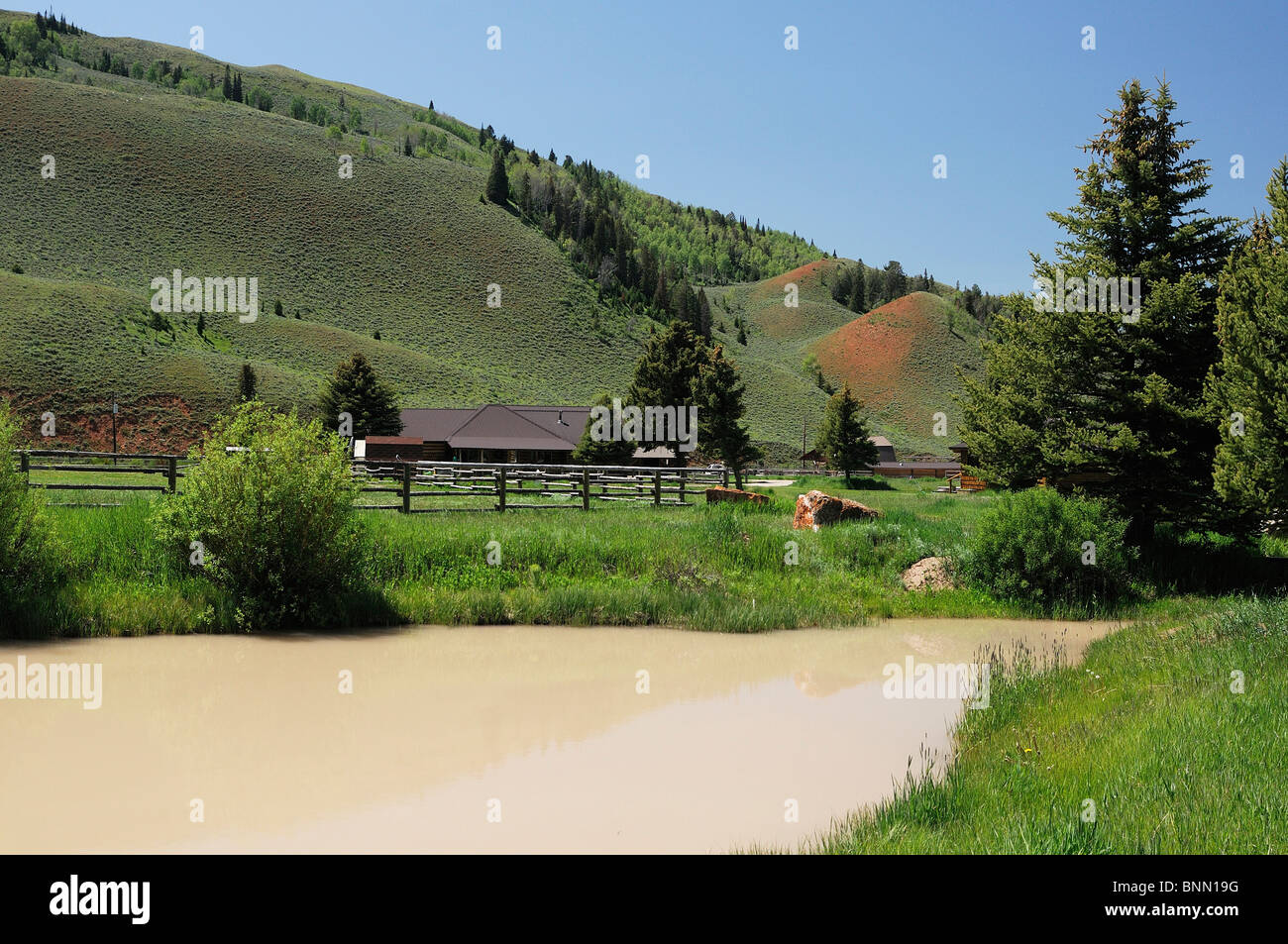 Crystal Creek Red Rock Ranch Guest Ranch Kelly Wyoming USA hills - Stock Image