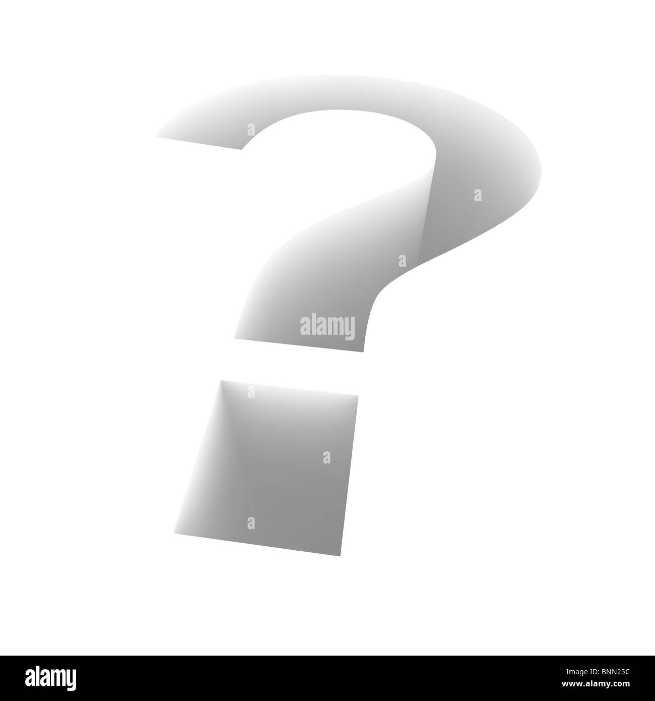 Extruded question mark. 3d rendered illustration. - Stock Image