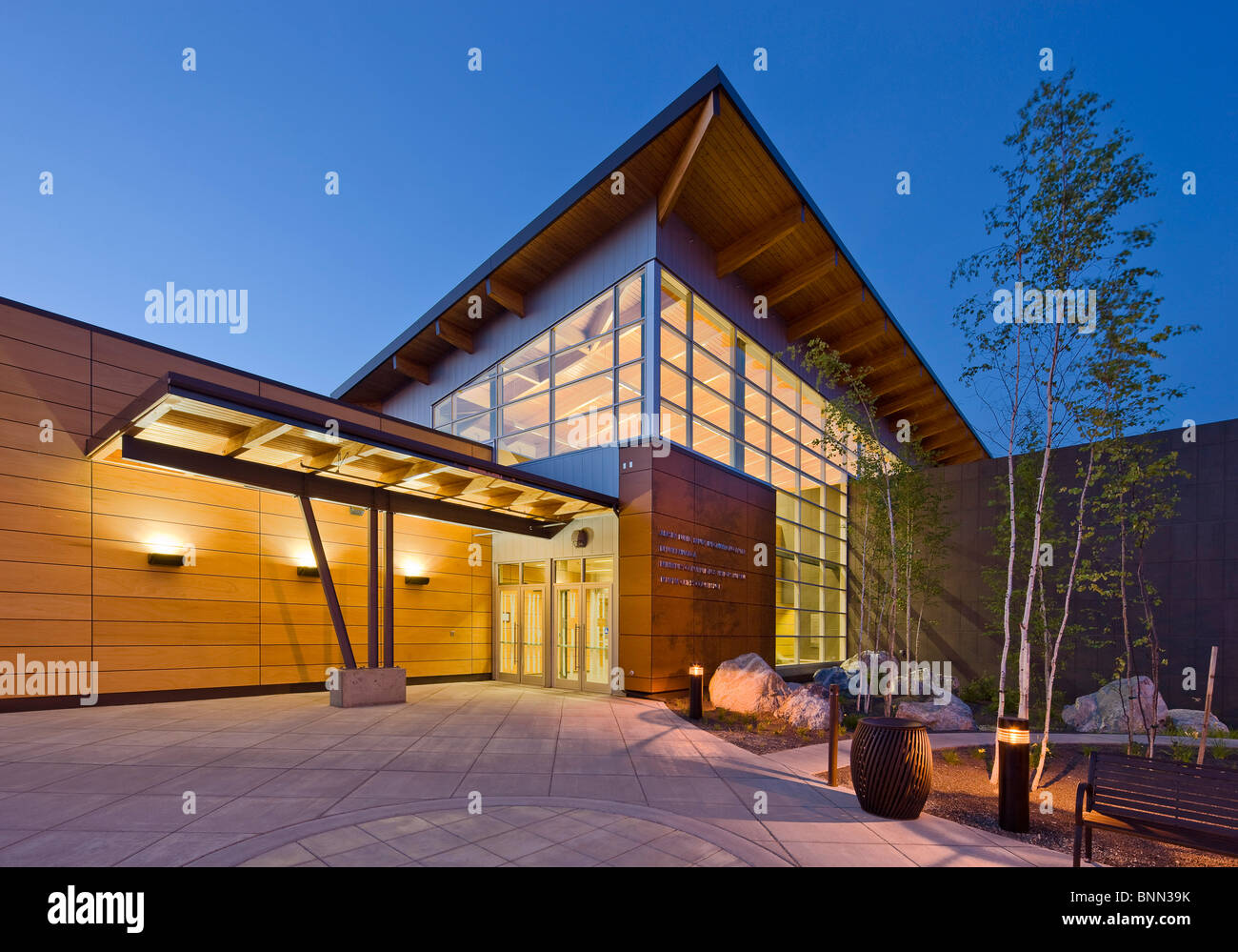 The Morris Thompson Cultural and Visitors Center in downtown Fairbanks, Alaska Stock Photo