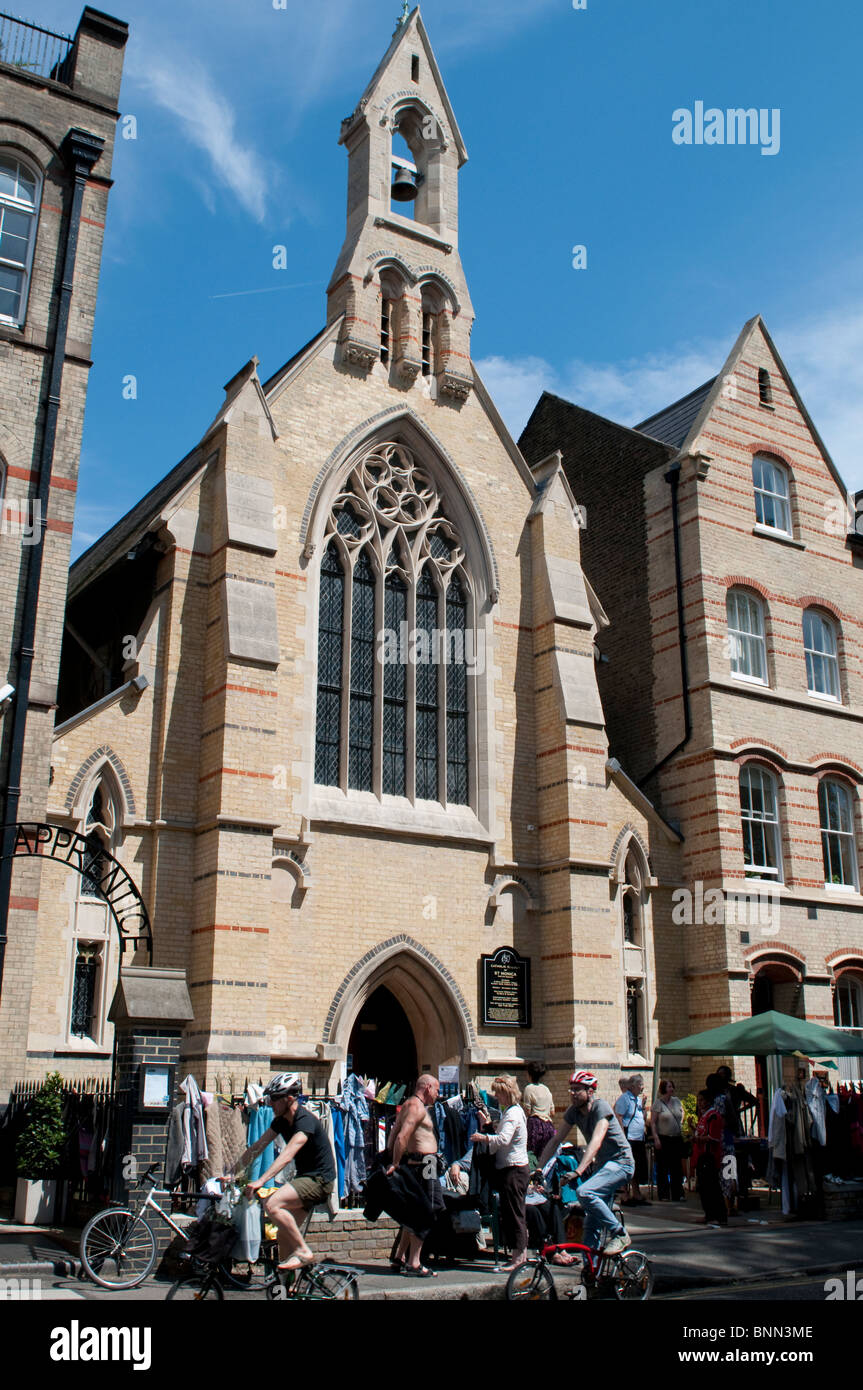Jumble sale in front of Catholic Church of St Monica, Hoxton Square, London, UK - Stock Image