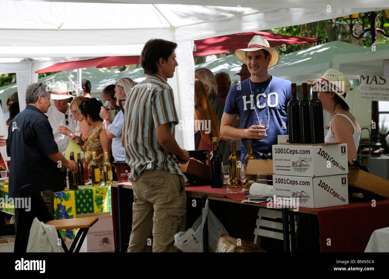 Wine tasting at the AOC Saint Chinian Wine Festival in the Languedoc region of southern France Stock Photo