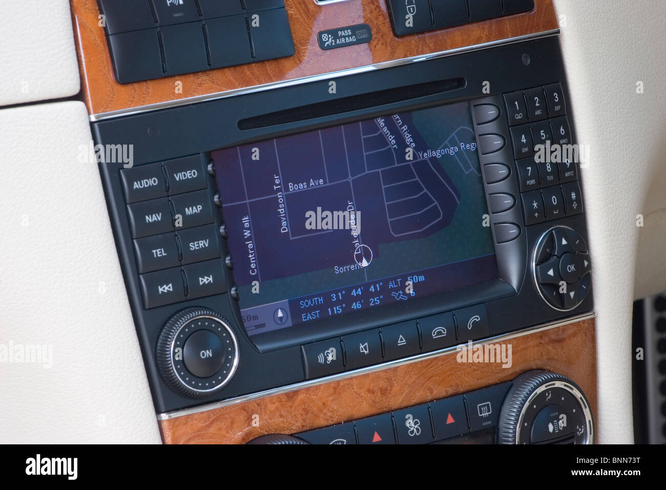 On board navigation system in a Mercedes Benz road car - Stock Image