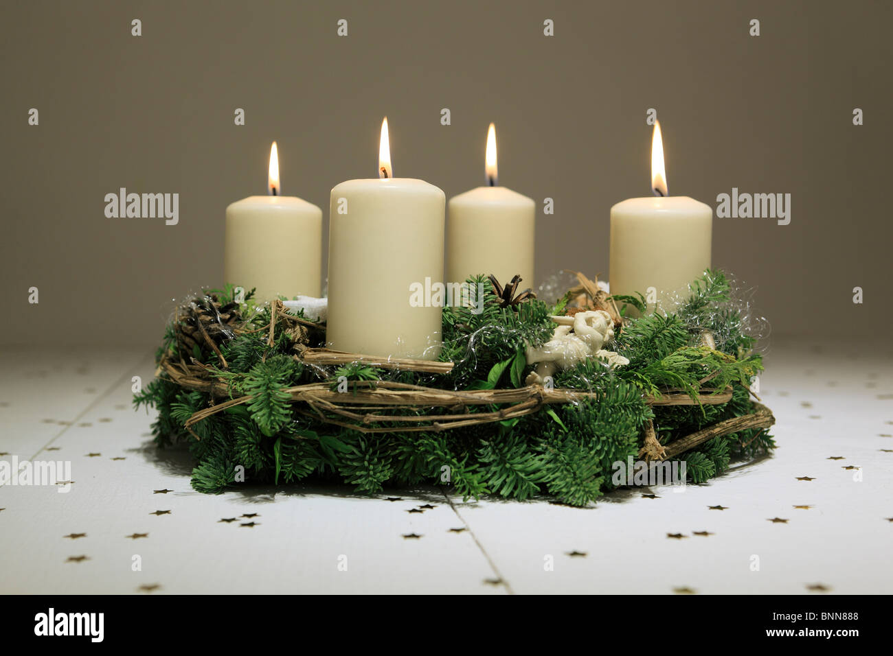 4 Advent Advent Wreath Advent Time Deko Decoration Adornment Angel Stock Photo Alamy