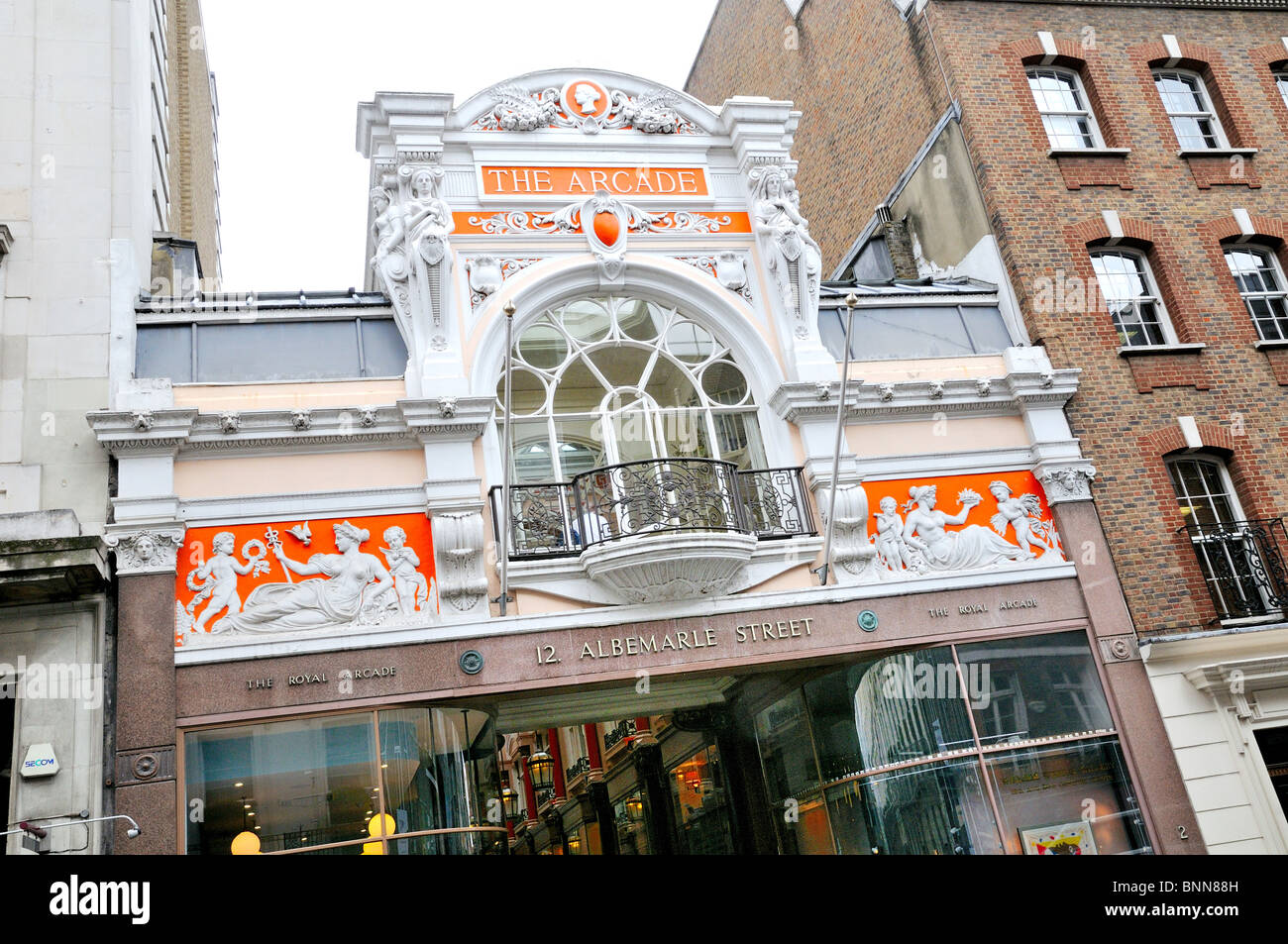 Entrance to the Royal Arcade,Mayfair ,London - Stock Image