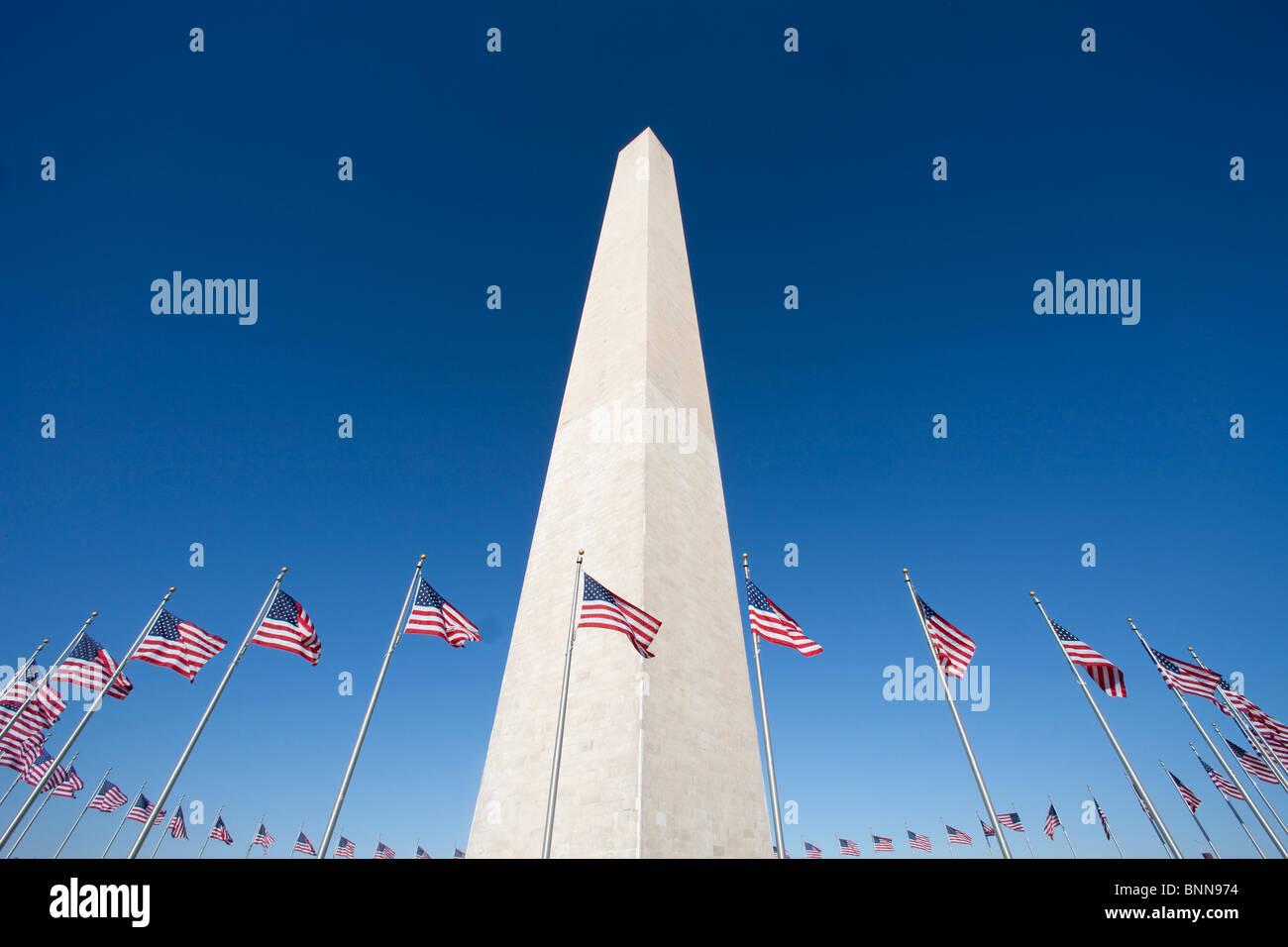 USA United States of America Washington DC flags obelisk monument - Stock Image