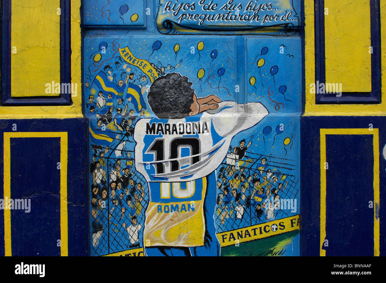Argentina Buenos Aires Town Quarter La Boca Mural Painting Football