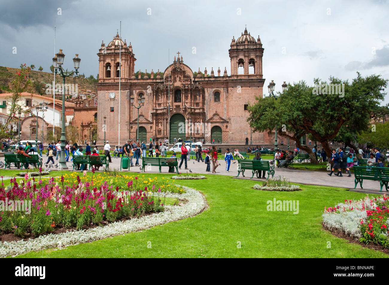 The cathedral on the Plaza de Armas in Cusco, Peru, South America. Stock Photo