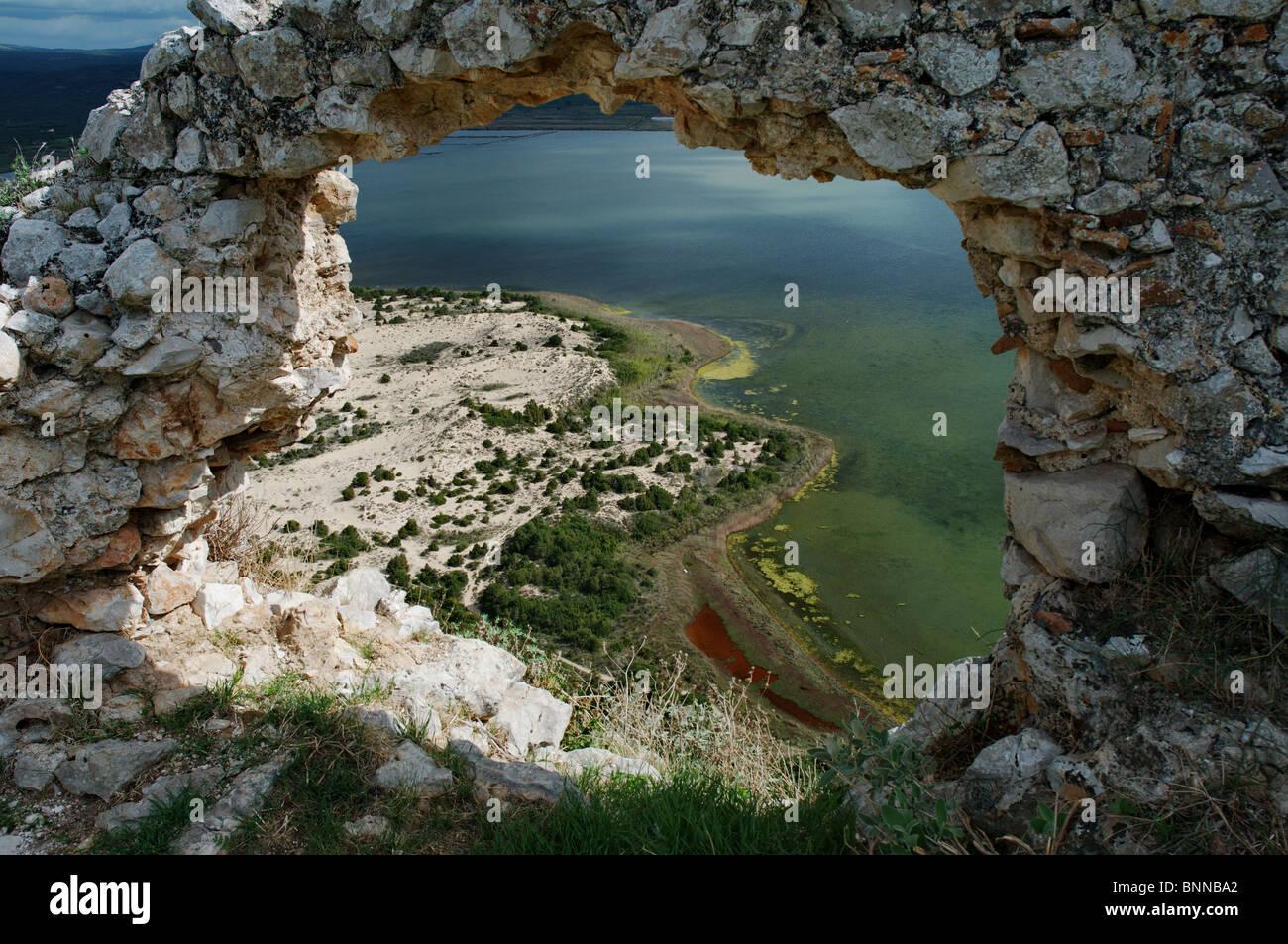 Voidokilía Navarino Pylos Divari lagoon lagoon dune dunes sea Peloponnese Griechenland Greece Mediterranean - Stock Image