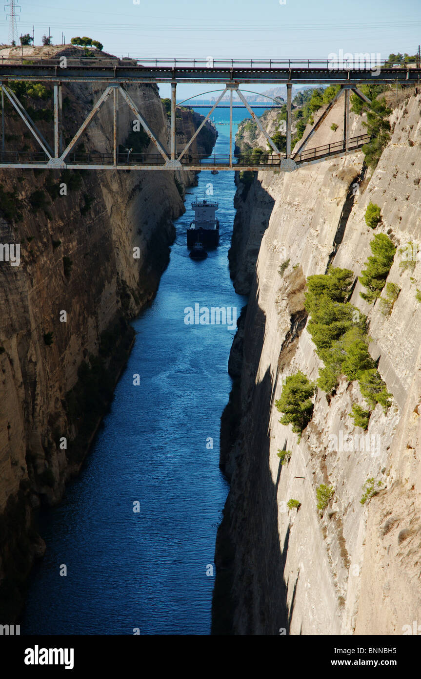 canal Korinth Korinthos blue historic ship vessel bridge Mediterranean sea light shadow Greece Peloponnese mediterranean Stock Photo