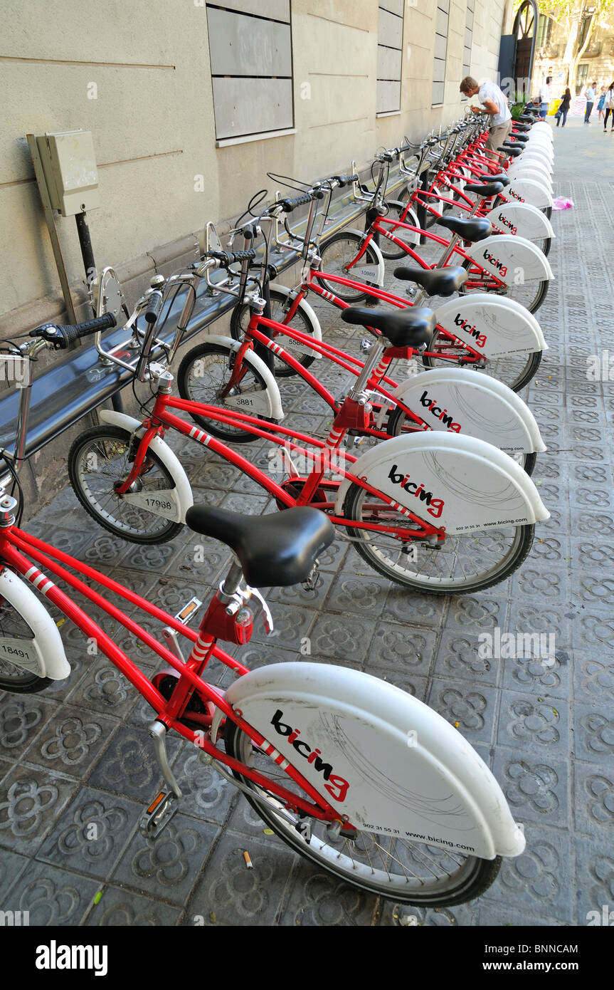 Red bicycles for rent in Barcelona, Spain, Europe - Stock Image