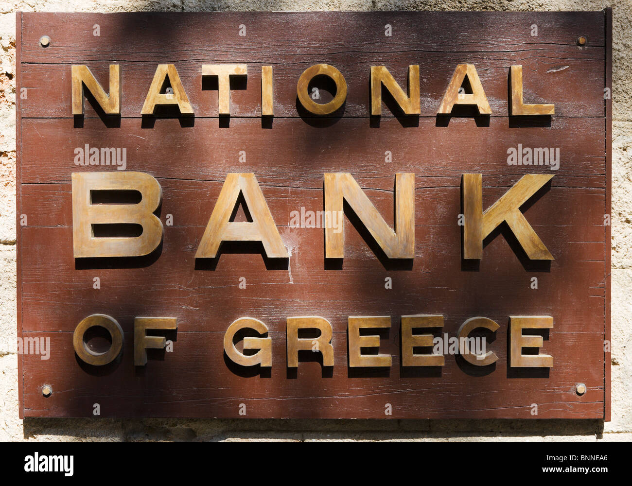 Sign outside the National Bank of Greece, Rhodes Town, Rhodes, Greece - Stock Image