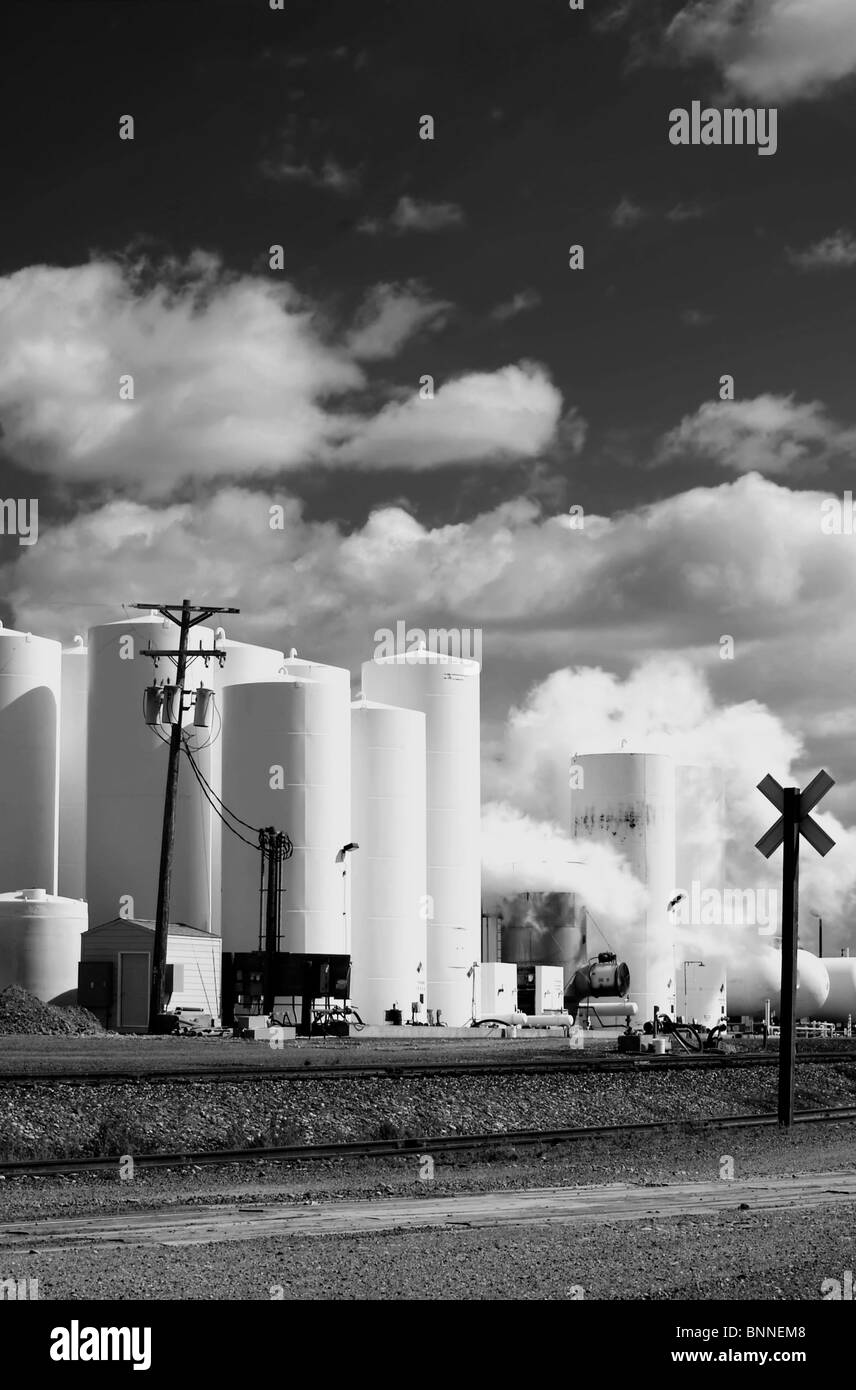 White chimney smoke polluting our nations air, black and white - Stock Image