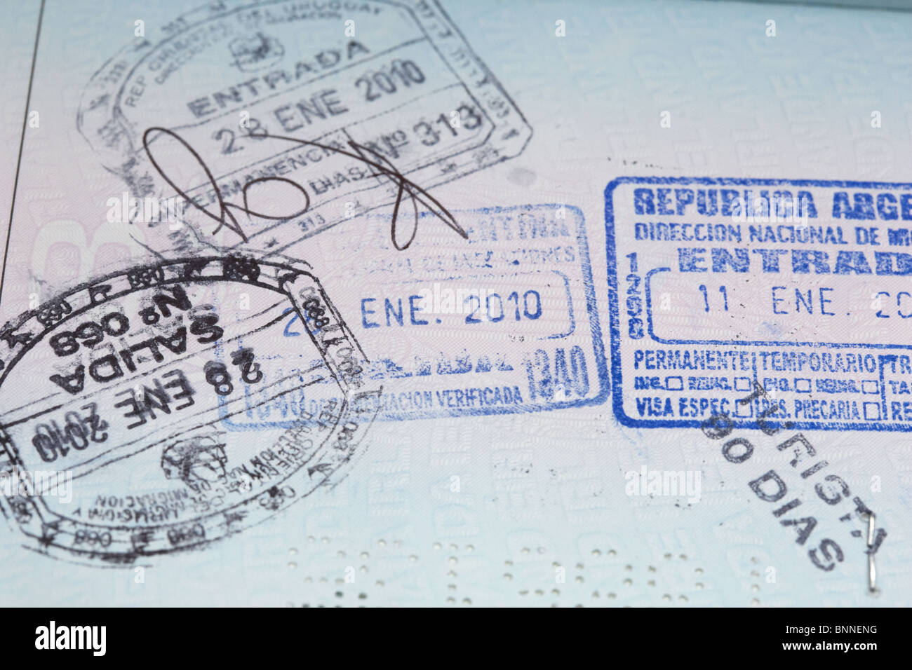 republic of argentina and uruguay entry and exit visa stamps in an eu irish passport - Stock Image