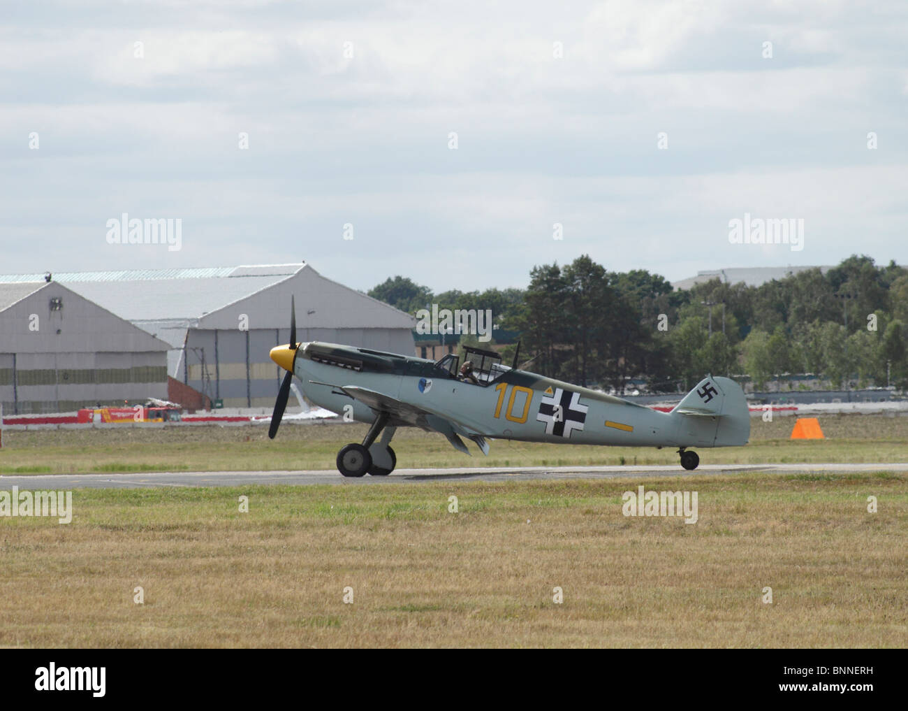 Messerschmitt BF 109 about to take off at Farnborough Airshow 2010 - Stock Image