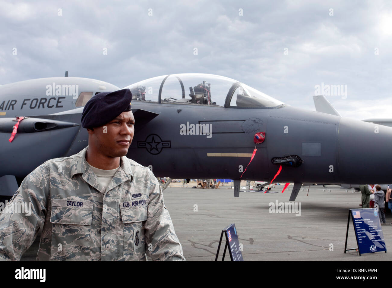 us air force fighter jet at air show in the uk. personnel Taylor. - Stock Image