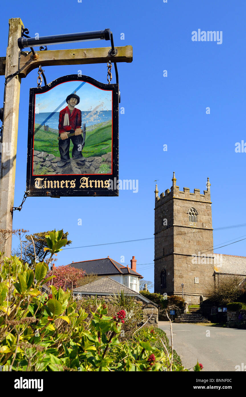 the tinners arms pub sign in the village of zennor, cornwall, uk - Stock Image