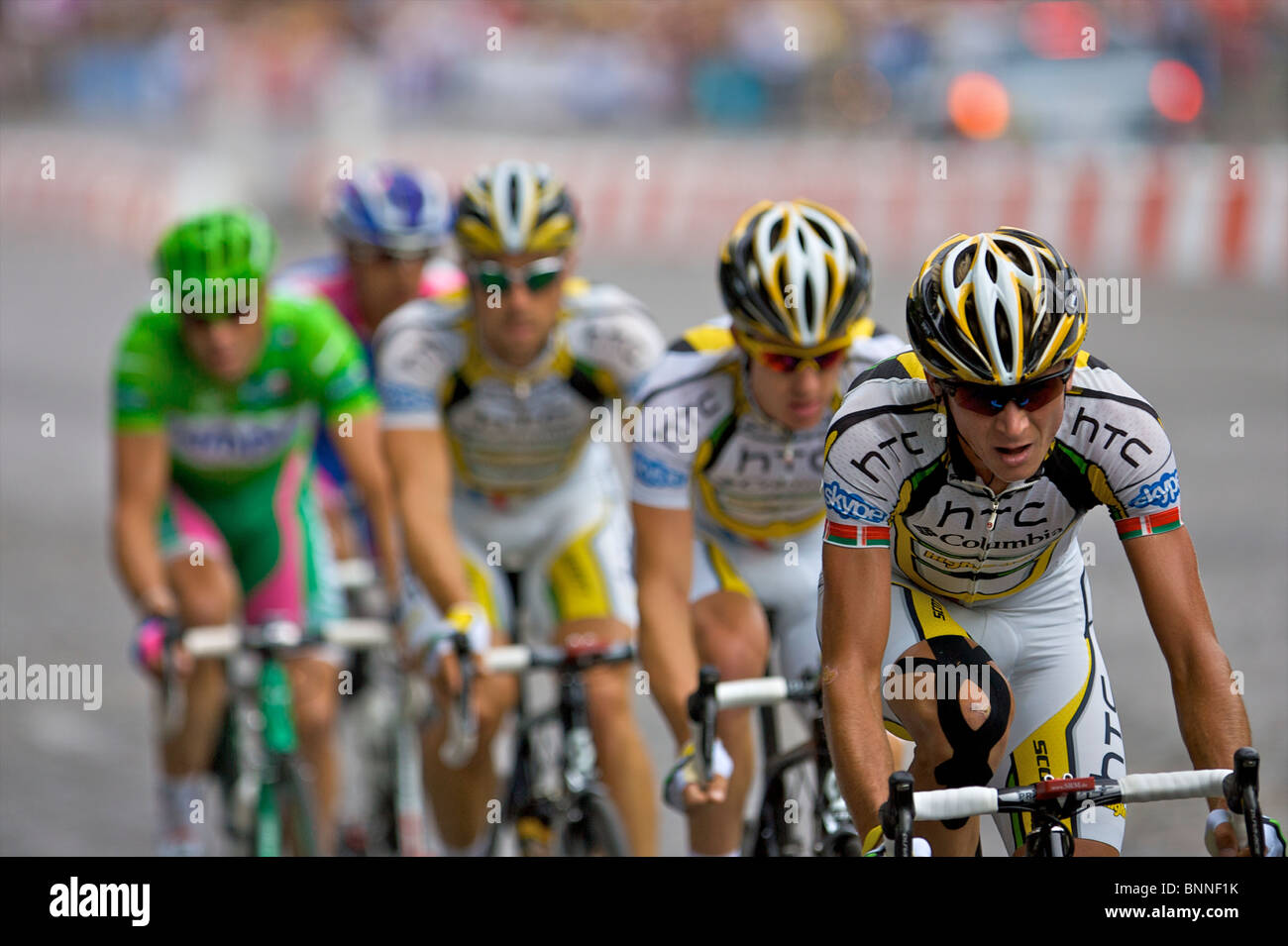 89490f723dd Professional cyclist Kanstantsin Sivtsov leads the HTC Columbia  professional cycling team on the Champs Elysees in Paris