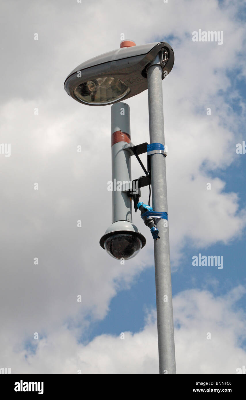 A Street Side Cctv Camera On A Lamp Post In Hounslow Middx Uk